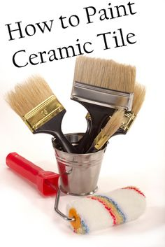 How to Paint Ceramic Tile--just might give it a try.  Who the heck thought blush-coloured tiles were a good idea?!