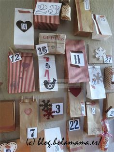 An 'all of wall' advent calendar, decorate paper bags, or recycle saved wrapping paper to make your own bags. Add a number, pop a treat inside, and create an advent wall! Christmas Crafts