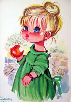 Vintage Illustration Vintage postcard of Sweet Big Eyed Girl by PrettyPostcards Vintage Pictures, Vintage Images, Cute Pictures, Vintage 70s, Illustration Mignonne, Cute Illustration, Vintage Cards, Vintage Postcards, Chic Retro