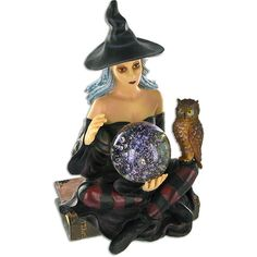 Witch figurines | Ceramic-led-witch-with-owl.jpg