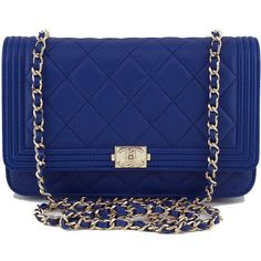 38872a219a1f7f Pre-Owned NWT 16B Chanel Caviar Blue Boy Classic Quilted WOC Wallet on...  ($2,999) ❤ liked on Polyvore featuring bags, handbags, royal blue, ...