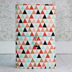 Fabric Traveler's Notebook in Tiny Triangles