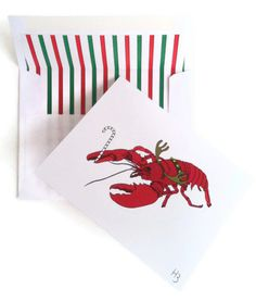 Coastal Christmas Card - Blank Inside, Rudolph the Red Lobster Card with Coordinating striped lined white envelope