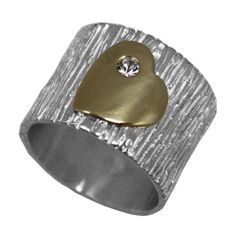 Ring Silver heart shape Gold CZ size 6 7 8 9