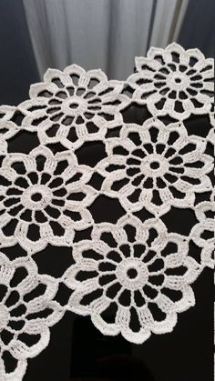 120 cm inches long crocheted table runner crochet tablecloth crocheted table cloth flower white lace cotton table linen large doily Beautiful brand new large flowers white crochet table runner. Crochet Fabric, Crochet Doily Patterns, Crochet Squares, Thread Crochet, Crochet Motif, Crochet Doilies, Easy Crochet, Crochet Flowers, Crochet Lace