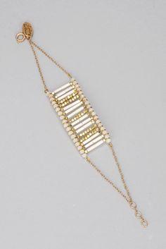 Bracelet doré perles blanches