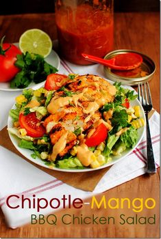 Chipotle-Mango BBQ Chicken Salad, aka the end of boring chicken dinners as we know it.