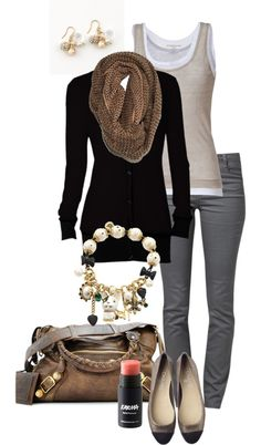 """Gray, Black & Taupe"" by simple-wardrobe on Polyvore with boot instead of flats"
