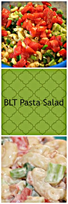 BLT Pasta Salad 2 cups uncooked elbow macaroni 5 green onions, finely chopped 1 large tomato, diced cups diced celery cups mayonnaise 5 teaspoons white vinegar teaspoon salt to teaspoon pepper 1 pound sliced bacon, cooked and crumbled * Savory Salads, Appetizer Salads, Appetizers, Blt Pasta Salads, Pasta Salad Recipes, Summertime Salads, Summer Salads, Pasta Dishes, Food Dishes