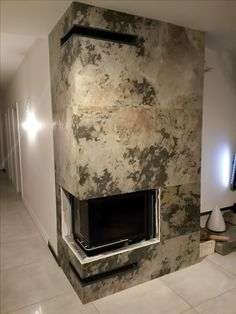High Quality A Fireplace Made With Slate Lite, The Paperthin Real Stone Veneer. Used  Decor