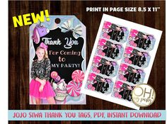 You can see all our JOJO SIWA products here! https://www.etsy.com/es/shop/ohmypartystudio?ref=l2-shopheader-name&search_query=jojo+siwa JOJO SIWA thank you tags, instant download - includes: 8 thank you tags per page letter, in pdf format, 300 dpi. ★ Instant download: after you