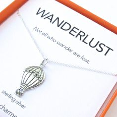 This pendant necklace makes a great gift for the wandering spirit in your life. Comes with a hot air balloon shaped pendant with engraved detail, a quote card...