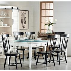 "$1940 Magnolia Home 'Farmhouse Collection' Keeping Dining Table (available in Jo's White painted finish, natural pine + black) avail. in 6', 7' + 8' lengths.  see magnolia home website for specifics since Nebraska Furniture Mart's website sucks.  Dining Table - 72""L X 44""W X 31""H 7' Dining Table - 84""L X44""W X 31""H 8' Dining Table - 96""L X 44""W X 31""H"