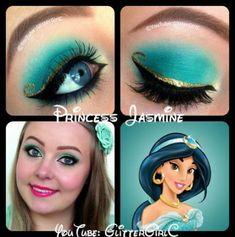 Prinzessin Jasmin Make-up: D Princess Jasmine Makeup, Disney Princess Makeup, Disney Princess Jasmine, Princess Jasmine Costume, Princess Tiana, Disney Eye Makeup, Disney Inspired Makeup, Eye Makeup Art, Disney Make-up