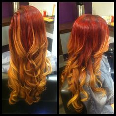 Red to blonde ombre! Orange Ombre Hair, Red Blonde Ombre, Ginger Ombre, Sunset Hair, Nailart, Fire Hair, Red Hair Color, Hair Colors, Colours