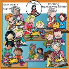 Cooking Thanksgiving dinner clip art set features 16 items: 8 clip arts in color. 8 clip arts in black & white.All images are 300 dpi, Png files.This clipart license allows for personal, educational, and commercial small business use. If using commercially, or in a freebie, credit to my store by a link is required and appreciated.