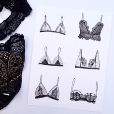 Black Lace Lingerie illustration with watercolor. La Perla, Boux Avenue, Victoria's Secret, Agent Provocateur.