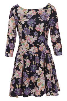 #romwe ROMWE | Flower Print Blue Dress, The Latest Street Fashion
