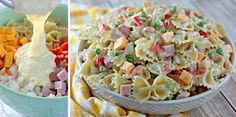 Homemade pasta salad is always the best, and this Bowtie Pasta Salad Recipe is just what you're looking for. Creamy dressing, pasta, and all the extras... Homemade Pasta Salad, Pasta Salad Recipes, Classic Meatloaf Recipe, Avocado Tomato Salad, How To Cook Ham, Main Dish Salads, Homemade Dressing, Soup And Salad, Pasta Dishes