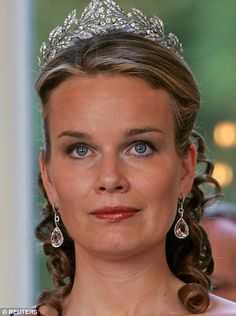 Grecian beauty: Princess Mathilde of Belgium, wife of Crown Prince Philippe, in the Laurel Wreath tiara at a gala dinner in 2006