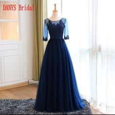 >> Click to Buy << Long Lace Evening Dresses with Sleeves Party Tulle Women Prom Beaded Formal Evening Gowns Dresses robe de soiree longue #Affiliate