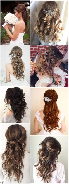 20 Half Up Half Down Wedding Hairstyles Anyone Would Love - wedding hairstyles - Hochzeit Frisuren Vintage Wedding Hair, Wedding Hair Down, Wedding Hair Flowers, Wedding Updo, Flowers In Hair, Wedding Hairstyles Half Up Half Down, Wedding Hairstyles For Long Hair, Formal Hairstyles, Grad Hairstyles