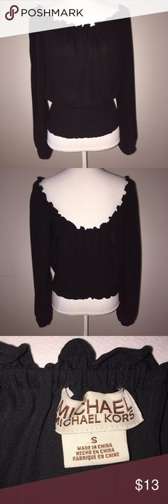 Michael Kors Black Ruffled Elastic Wide Neck Top This gorgeous top from Michael Kors is black with an elastic waist and neckline that can be worn off the shoulder. It is size small and in excellent condition. If you have any questions, please ask! MICHAEL Michael Kors Tops Blouses