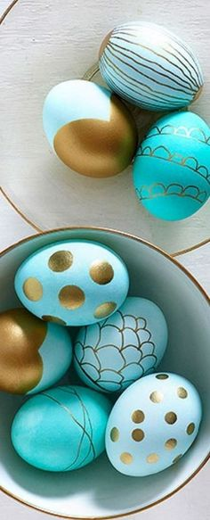 These are the prettiest Easter Eggs! Love the turquoise and gold color combination and designs. Easter inspiration, Coastal Easter colors