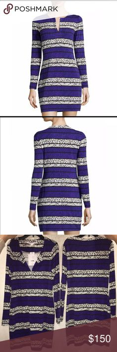 "NWT💕Diane Von Furstengerg - Reina Dress. Size 2. New with tags! Never worn! Diane Von Furstengerg (DVF) long sleeve, printed dress arrow bands. Diane von Furstenberg geometric print jersey dress. Approx. 34.5""L from shoulder to hem. Split neckline. Long sleeves. Fitted silhouette. Pullover style. Viscose/spandex. Dry clean. Imported. Diane von Furstenberg Dresses Long Sleeve"