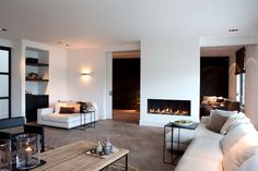 contemporary living room - Erik Kooijen fire place and sliding doors