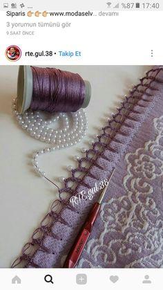Tığ işi Embroidery Scarf, Beaded Embroidery, Embroidery Stitches, Hand Embroidery, Crochet Lace Edging, Bead Crochet, Crochet Designs, Crochet Patterns, Crochet Decoration
