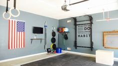Clean home gym equipped with the PRx Profile Rack and Profile Storage! #garagegym #homegym