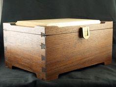Handmade Walnut and Tiger Maple Trinket Box Felt-lined with Brass hw