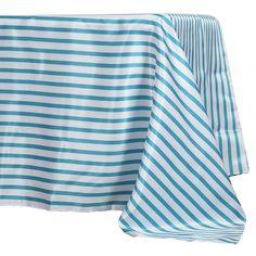"60x126"" White/Turquoise Striped Satin Tablecloth"