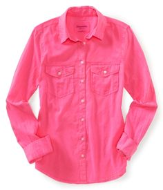 Aéropostale Long Sleeve Solid Neon Woven Shirt