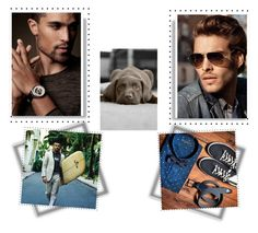 """With a Puppy"" by ajiyfun ❤ liked on Polyvore featuring men's fashion and menswear"