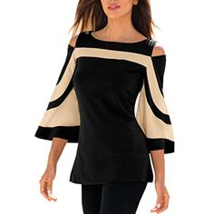 e48026db1c6361 Women s Colorblock Bell Sleeve Cold Shoulder Top Fashion Blouses Swing  Tunic Tops For Leggings