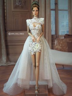 New dress for sell efdd Barbie Wedding Dress, Barbie Gowns, Barbie Dress, Barbie Clothes, Bridal Dresses, Barbie Mode, Bride Dolls, Barbie Fashionista, New Dress