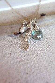 Seahorse necklace beach necklace beach style beach by AinaKai