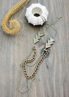 Arrow Necklace Balance and Strength Unakite long by SimkaSol