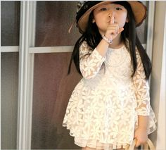 girl dress Retail 1 pcs 2014 spring children's clothing girls long-sleeve dresses new design Lace Flowers Hollow design US $11.90