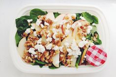 Apple, walnut, and goat cheese spinach salad. Perfect packable lunch!