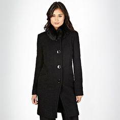 Black boucle faux fur collar coat - Coats - Coats & jackets - Women -