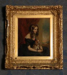Oil painting on canvas, The Hon. Selina Weld-Forester, Countess of Bradford (d.1894) (after Sir Francis Grant) by George Clarke (Carrick-on-Suir, Tipperary 1823 – 1906), inscribed on back: G. F. Clarke, 1875, after Grant. A half-length portrait of a young woman, seated, turned to the right, gazing down,with a King Charles spaniel on lap. In black evening dress with red rose at breast.