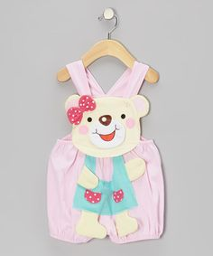 Take a look at this Pink Bow Bear Shortalls - Infant by KAZOO on #zulily today!