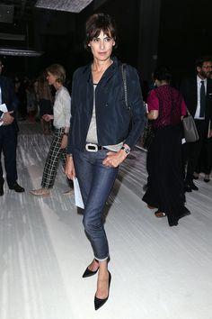 Ines de la Fressange always has the look I love--short jacket and kitten heels with ankle jeans look so godd.