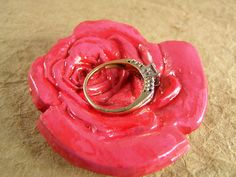 Pink rose ring dish  by TheAmethystDragonfly, $30.00 USD