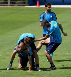 """(L-R) Simone Zaza, Ciro Immobile, Leonardo Bonucci and Marco Parolo of Italy in action during the training session at """"Bernard Gasset"""" Training Center on July 01, 2016 in Montpellier, France."""