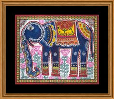 """""""Elephant"""" handmade painting in Mithila / Madhubani Art Haathi (Elephant) handmade in Mithila / Madhubani Painting. Elephant is considered as the symbol of strength. Base: Handmade Paper, Paint: Poster Colours, Mode: Handmade Painting, Artist – Nupur Nishith"""