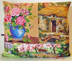 UNIQUE French Needlepoint Tapestry & Antique by Retrocollects, £40.00